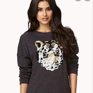 Forever 21 Charcoal Sweatshirt with Sequin Tiger in Size Medium